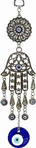 Turkish Blue Evil Eye Hamsa Hand Amulet Wall Hanging Decorative Charm Blessing Gift - Retro Desgin -10.5