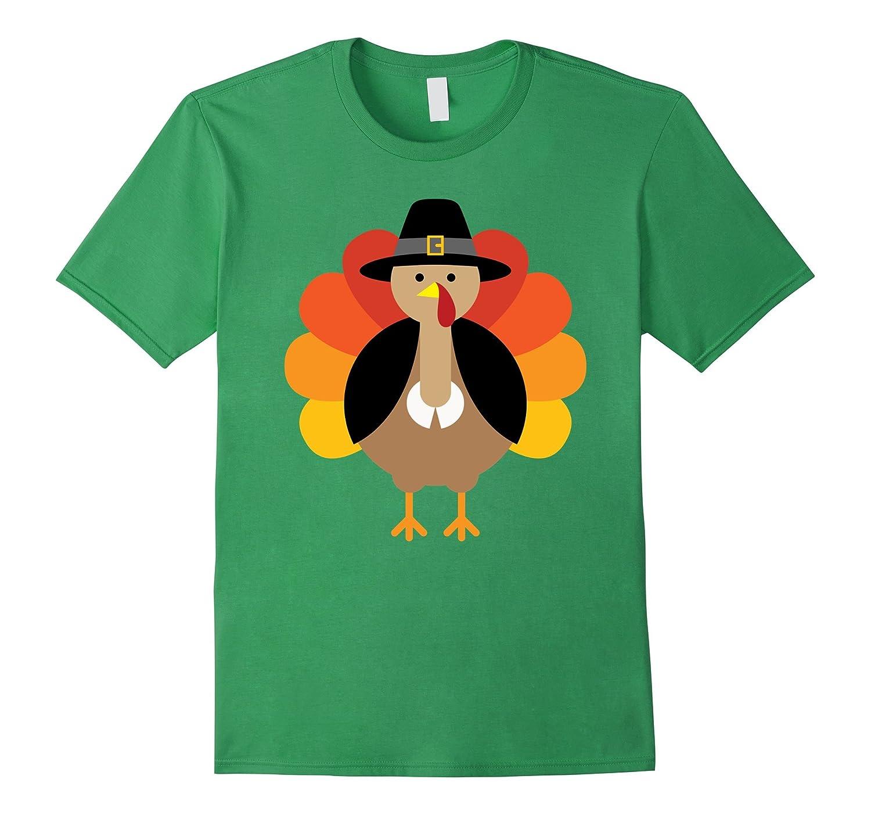 Turkey Pilgrim Cute Thanksgiving T-Shirt-T-Shirt