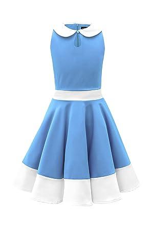 c19977ae9879 BlackButterfly Kids 'Zoey' Vintage Clarity 50's Girls Dress (Blue, ...