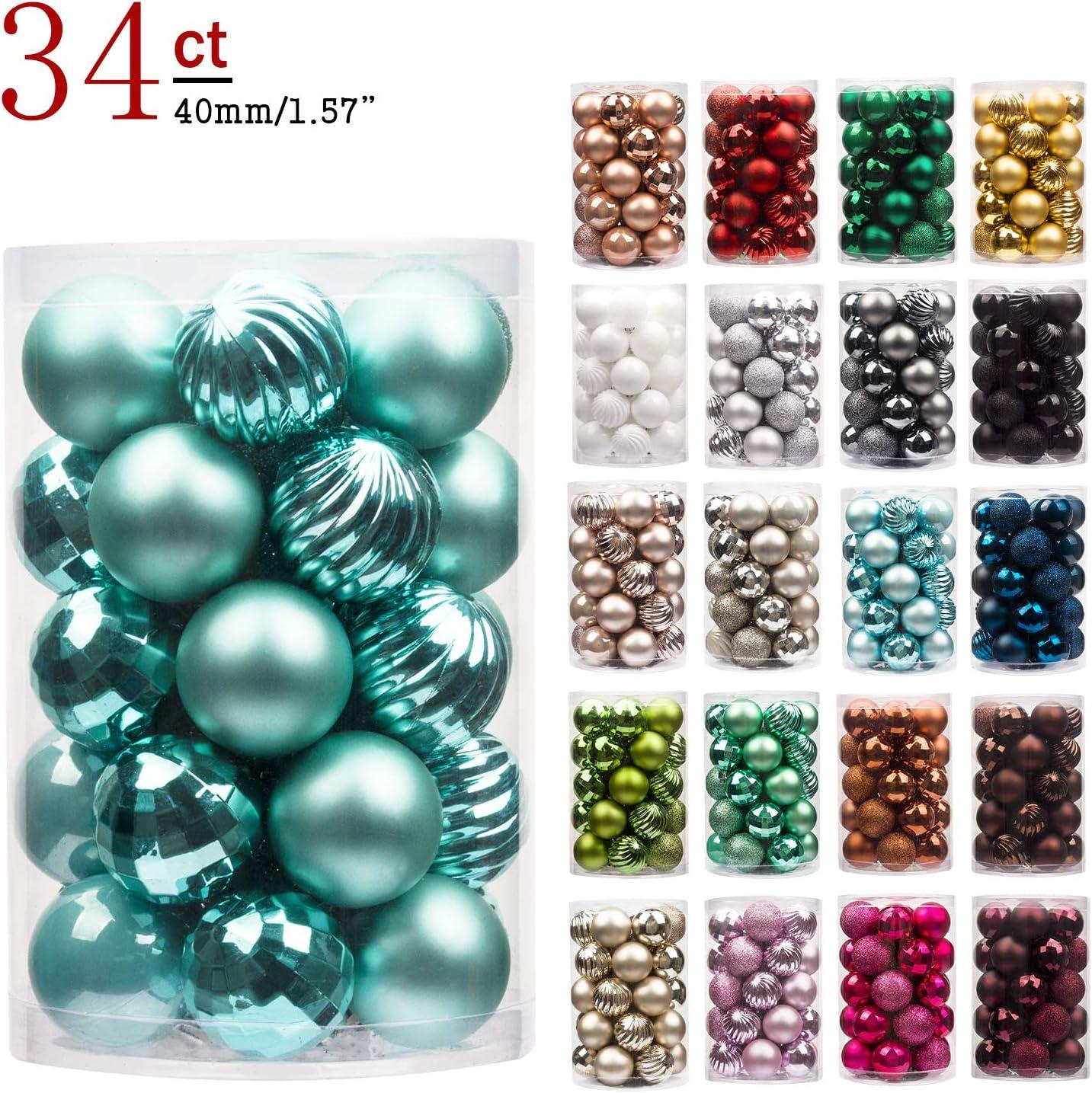 KI Store Art Beauty-Bolas para árbol de Navidad, diseño de Bola de Color Verde Azulado, irrompible, 24 Piezas (3 Acabados, 40 mm), 4 cm