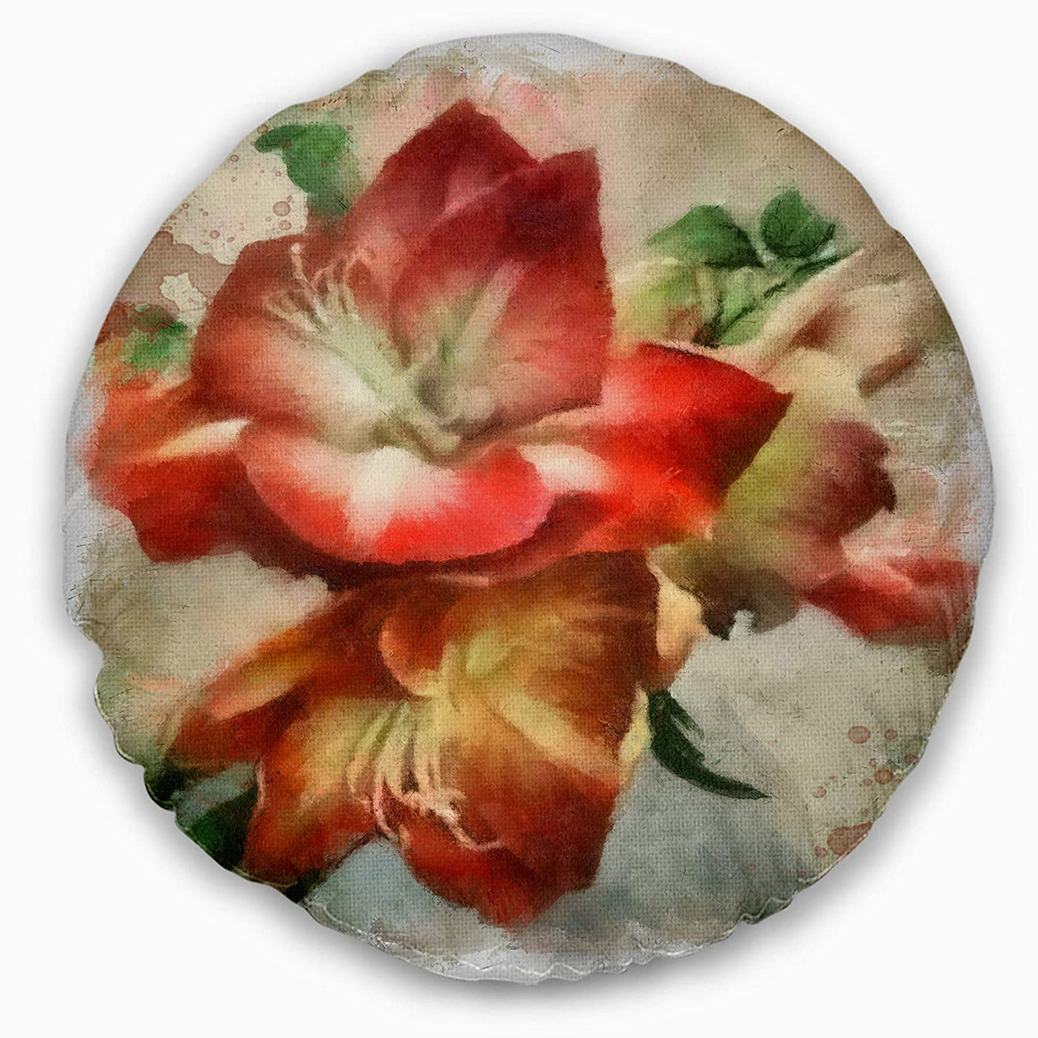 Designart CU13748-16-16-C Bunch of Amaryllis Flowers Drawing Floral Round Cushion Cover for Living Room Sofa Throw Pillow 16
