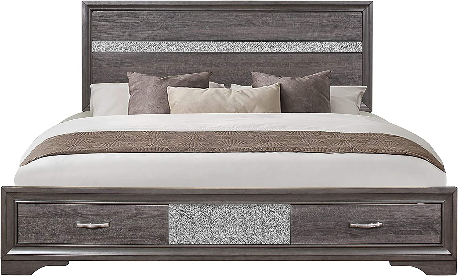 Global Furniture USA Seville Panel Bed in Gray (Queen: 83 in. L x 64 in. W x 50 in. H)