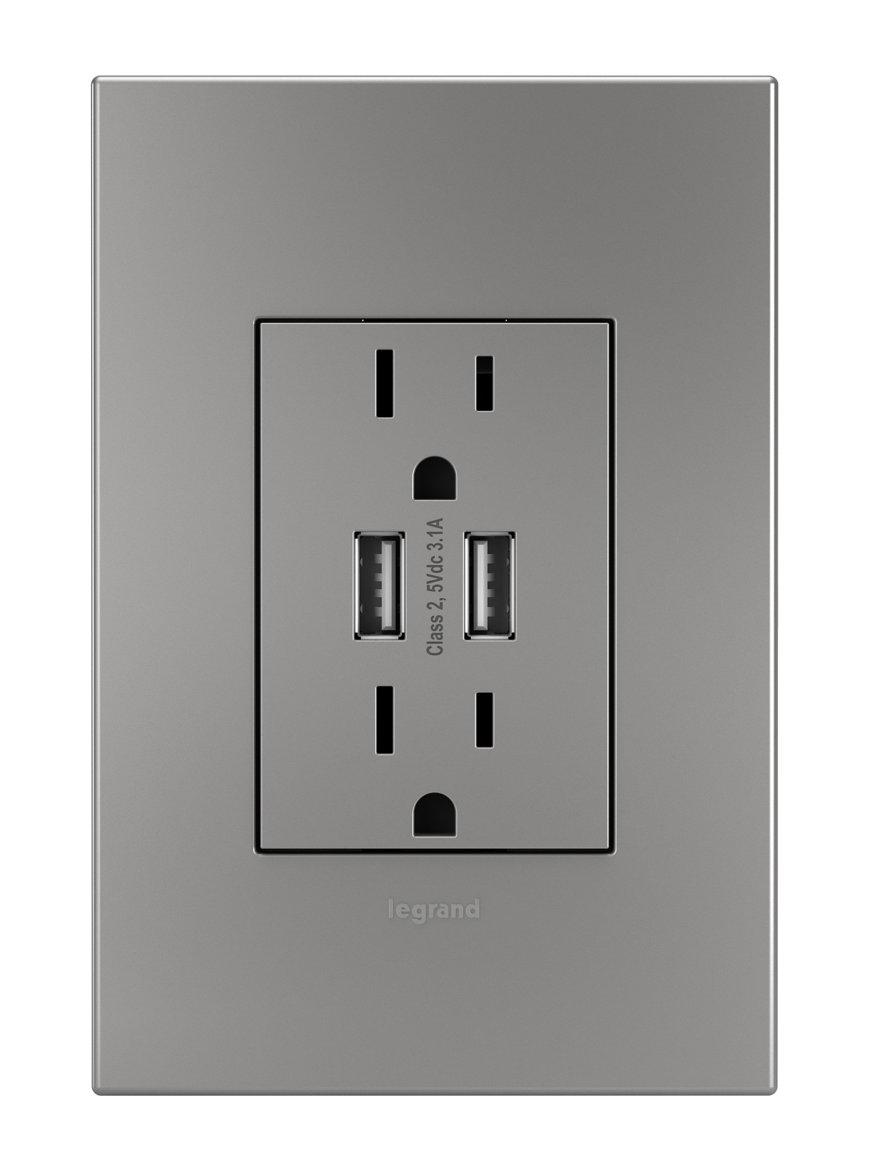 Legrand Adorne ARTRUSB153M4 Dual USB, Plus-size Combo Outlet, Magnesium by Legrand