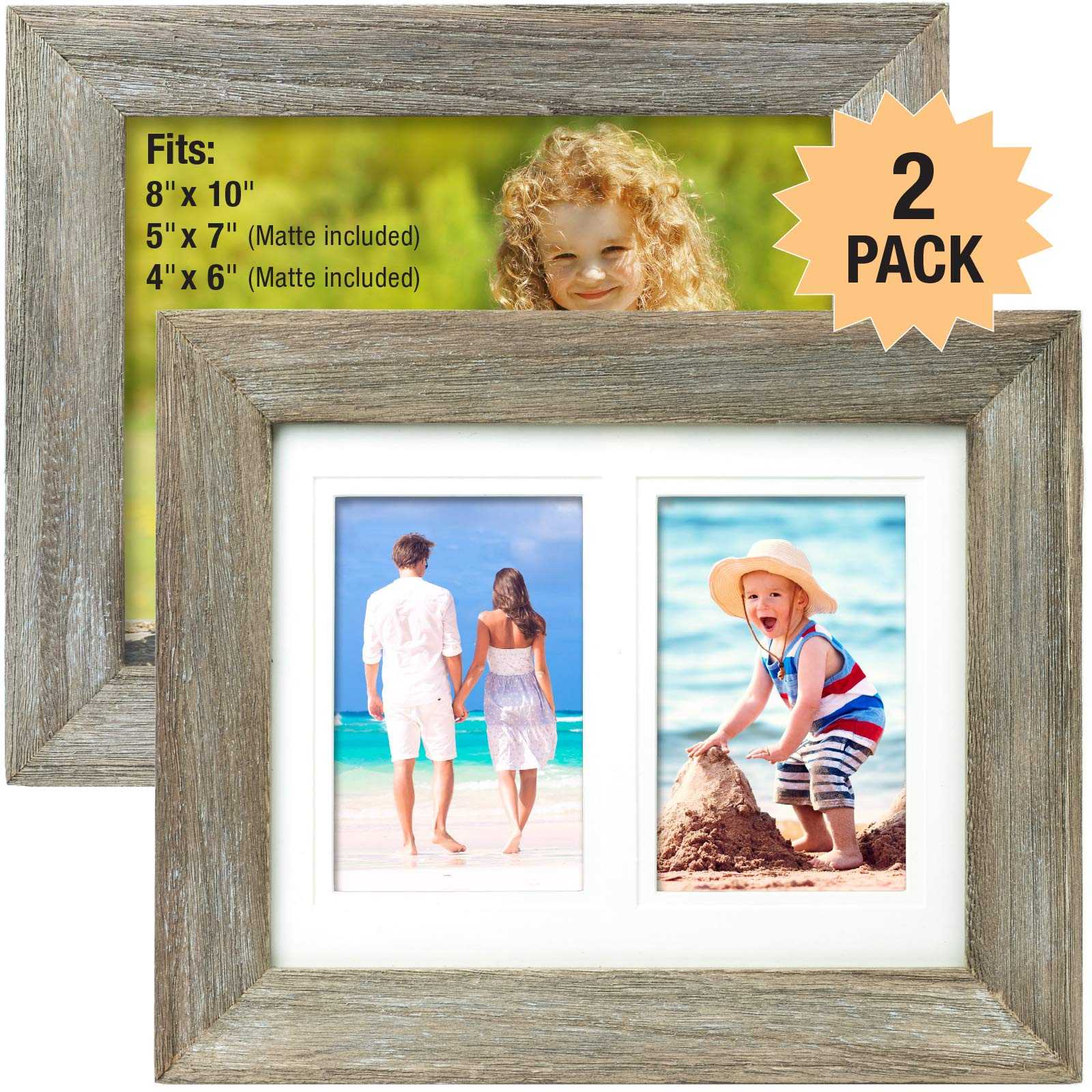 Rustic Barnwood 8x10 Picture Frame Set. Photo Frames Holder for Wall Desktop or Tabletop Display. Thick Weathered Gray Wood Home Decor. Fits 8x10 or 5x7 or 4x6 with included Matte (Pack of 2) by Excello Global Products