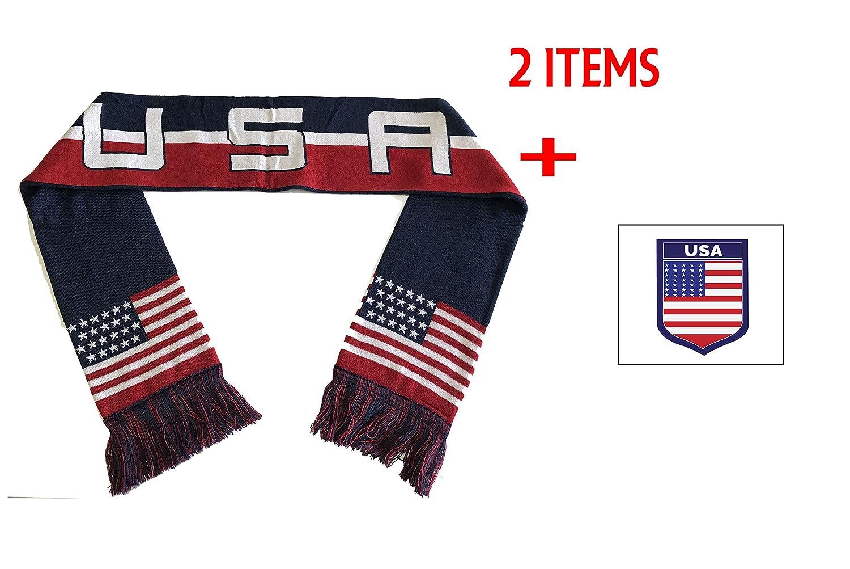 USAアメリカ合衆国フラグサッカーナショナルチームスカーフ B076JTQTBD  ネイビー