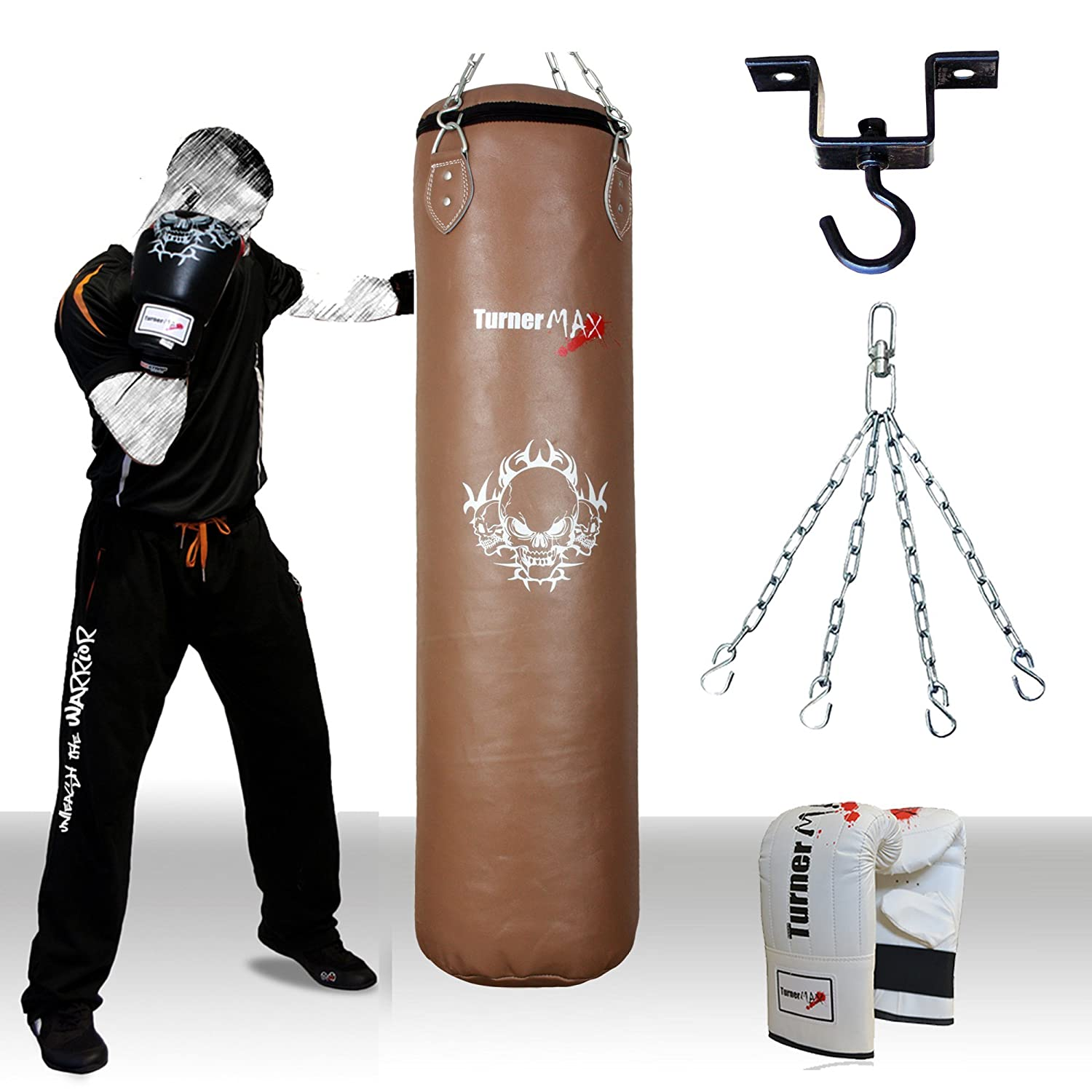 TurnerMAX Genuine Cowhide Leather Punch Bag Boxing Set Bag Gloves and Heavy Duty Metal Punchbag Ceiling hook bracket with Free Swivel Chain Natural Turner Sports
