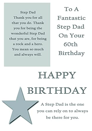 Step Dad 60th Birthday Card With Removable Laminate Amazon