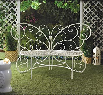 White metal patio chairs Wire White Metal Butterfly Statue Outdoor Patio Furniture Loveseat Bench Garden Bench Amazoncom Amazoncom White Metal Butterfly Statue Outdoor Patio Furniture