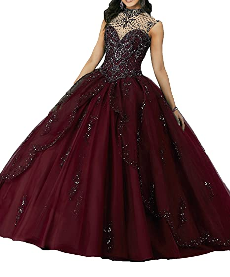ca10d03146 MFandy Sweet Girls 15 16 High Neck Evening Gowns Women Quinceanera Dress 0  US Burgundy