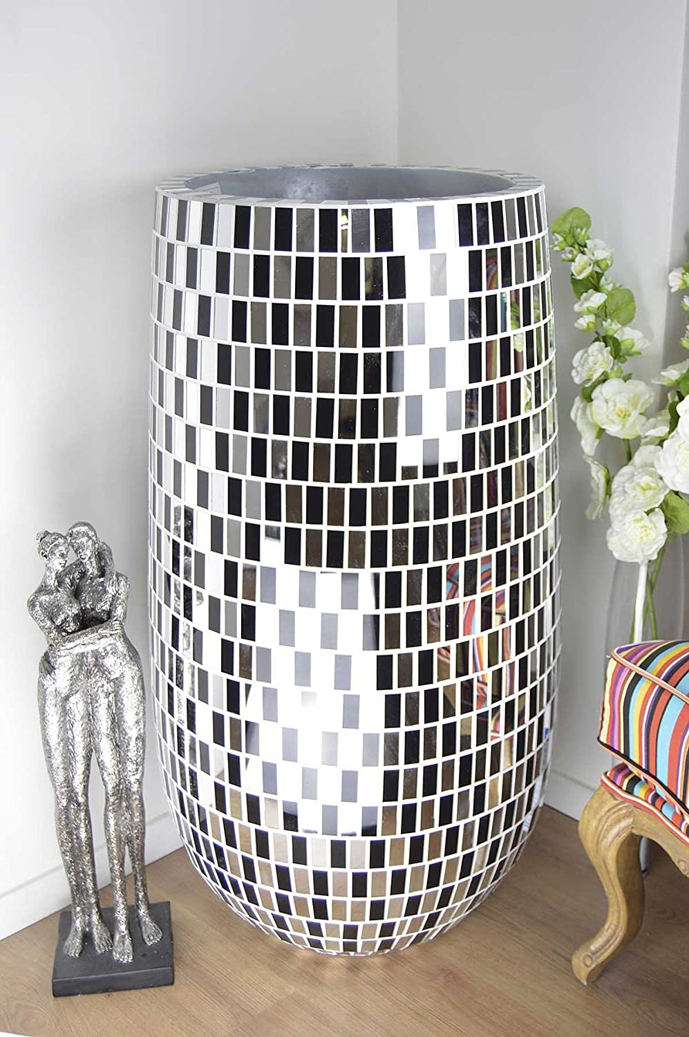 Very modern design extra large black and mirror mosaic vaseflower very modern design extra large black and mirror mosaic vaseflower pot 101cm x 50cm x 50cm amazon kitchen home reviewsmspy