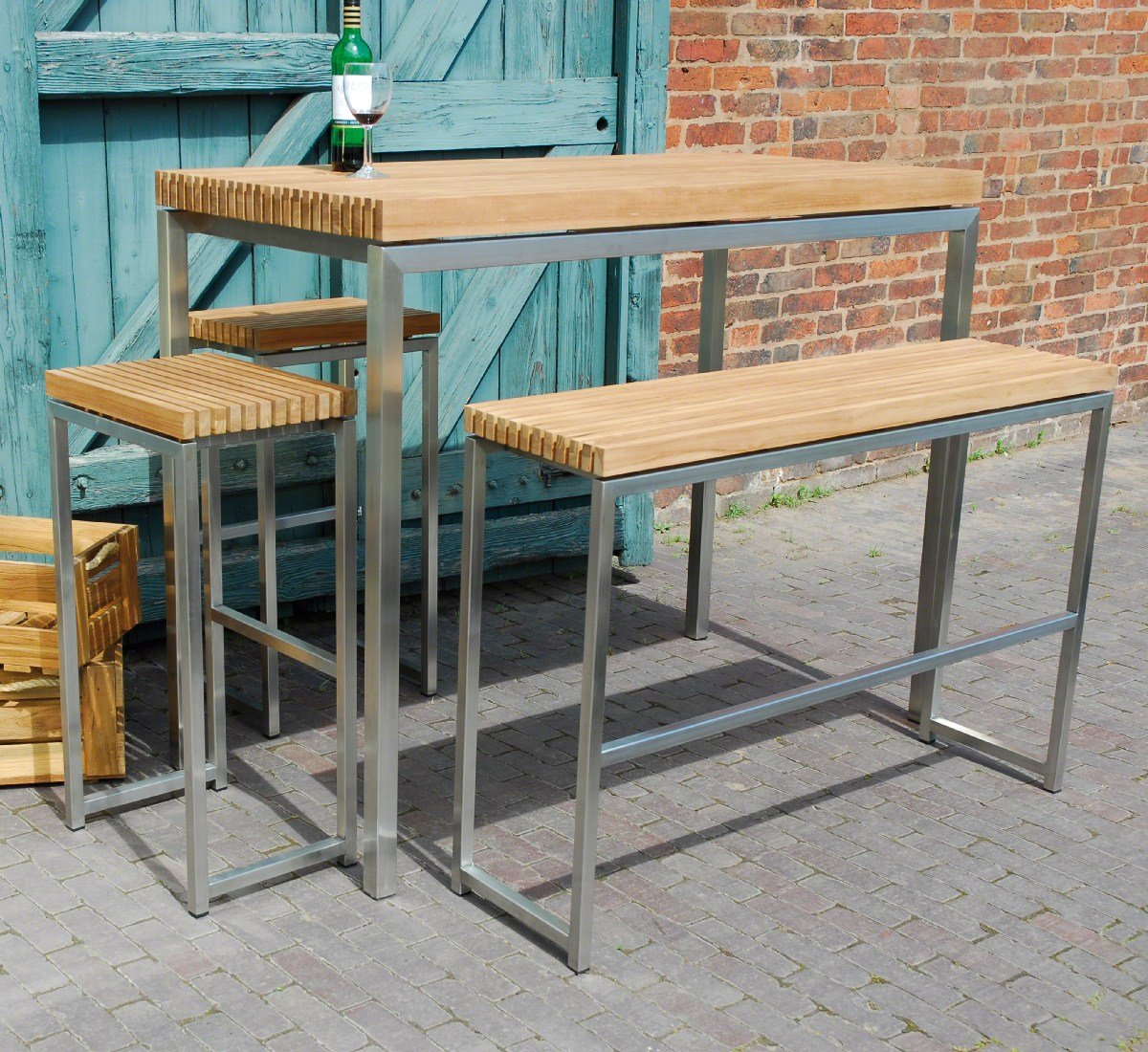 Ingarden Teak Garden Bar Table, High Benches U0026 High Bar Stools:  Amazon.co.uk: Garden U0026 Outdoors