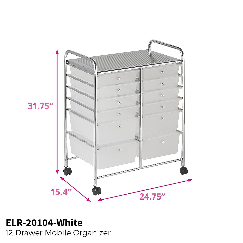 White ECR4Kids 15-Drawer Mobile Organizer