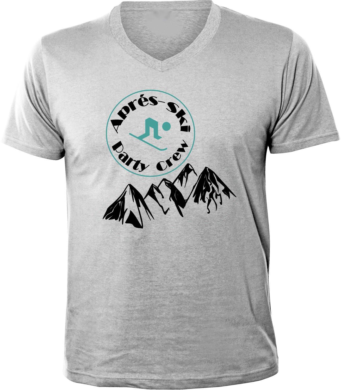 Mister Merchandise Herren Men V-Ausschnitt T-Shirt Apré Ski - Party Crew  Tee Shirt Neck Bedruckt: Amazon.de: Bekleidung