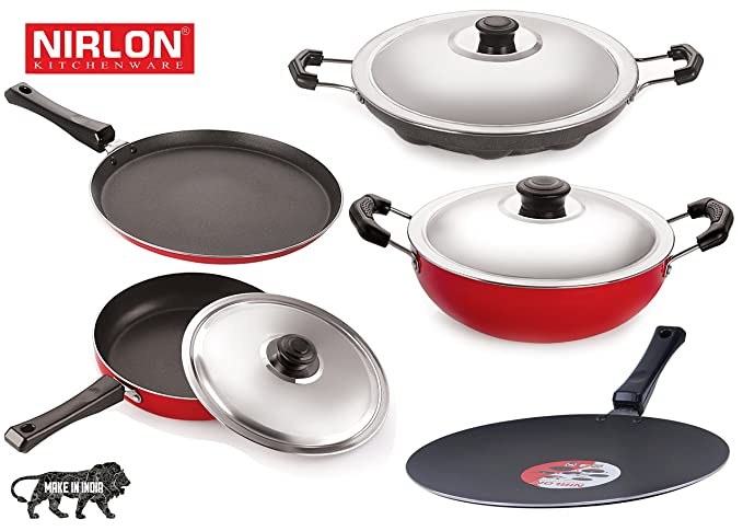 Nirlon Non-Stick Aluminium Cookware Set, 5-Pieces, Red (26FT12CTFP12DKDBAP_3) Pot & Pan Sets at amazon