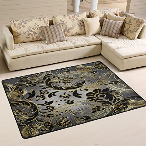 Amazon.com: ALAZA Paisleys Elegant Floral Area Rug Rugs for Living ...