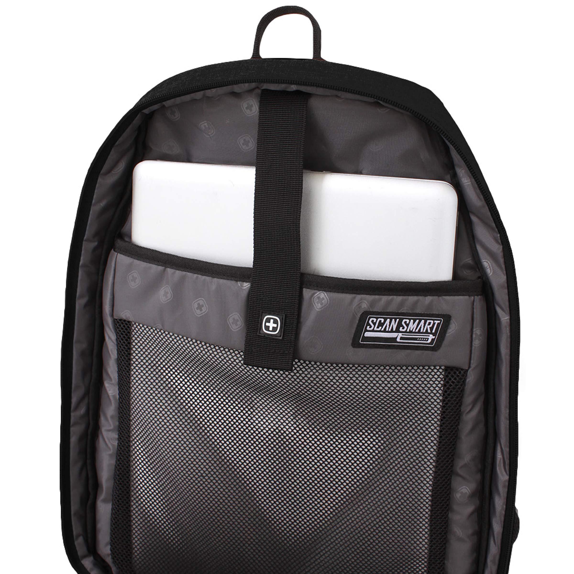 SWISSGEAR Large, Padded, ScanSmart 15-inch Laptop Backpack | TSA-Friendly Carry-on | Travel, Work, School | Men's and Women's - Black by Swiss Gear (Image #4)