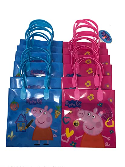 Peppa Pig Party Favor Goody Tote Candy Bag Great Child Birthday Gift 12 Piece