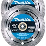 "Makita 2 Pack - 4.5"" Turbo Diamond Blades For Grinders & Circular Saws - Ultra-Fast Cutting For Concrete, Masonry & Brick - 5"
