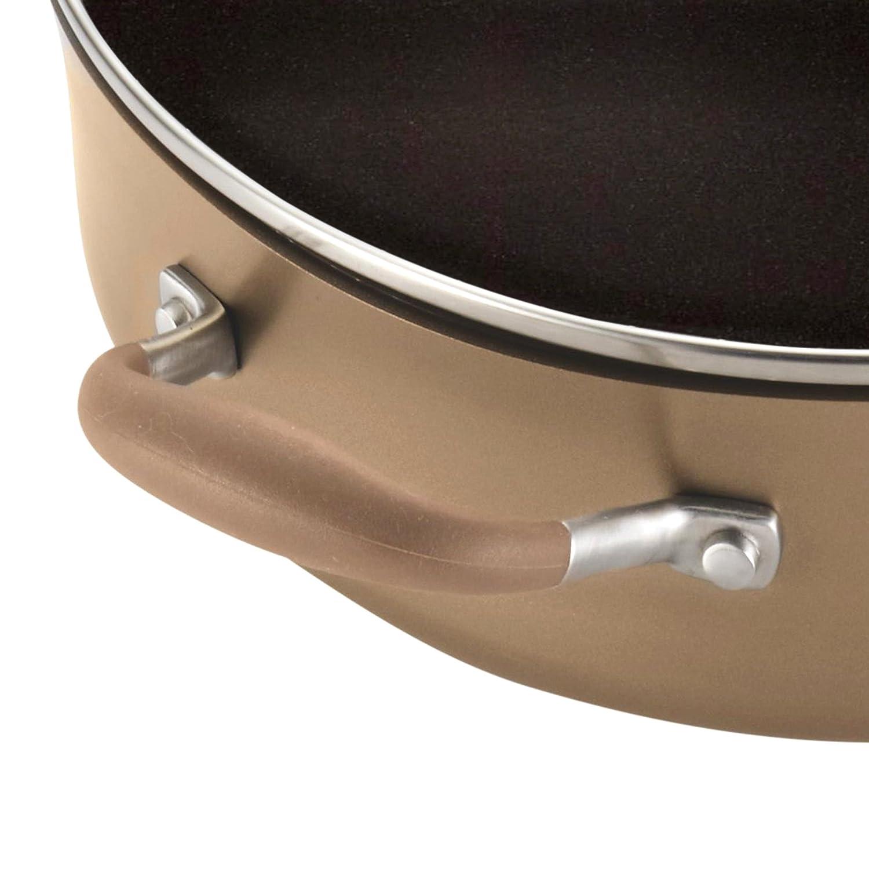 Anolon Advanced Bronze Hard-Anodized Nonstick 5.5-Quart Covered Braiser with Rack