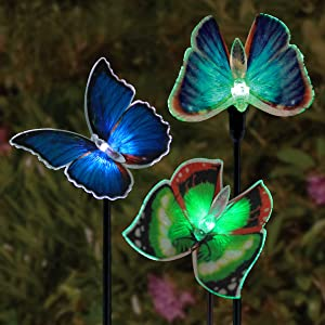 Exhart Solar Butterfly Garden Stake Lights - 6 Multicolored Butterfly Stakes w/Fiber Optic Wings and Solar Accent Lights - Butterfly Ornaments for Outdoor Home Decor, 5 in. L x 5 in. W x 26 in. H - 6