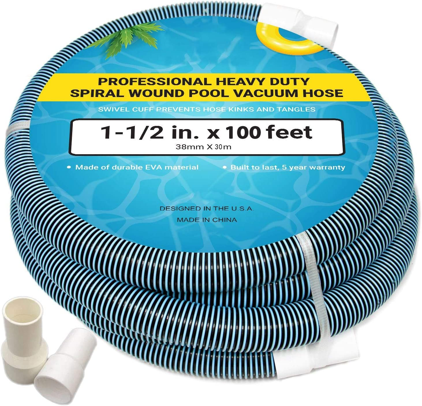 Upgraded Pool Vacuum Hose with Swivel Cuff, EVA Plastic Spiral Wound Suction Hose for Swimming Pool Manual Cleaning, Heavy Duty Flexible Garden Vac Water Hoses 1-1/2 Inch x 100 Feet