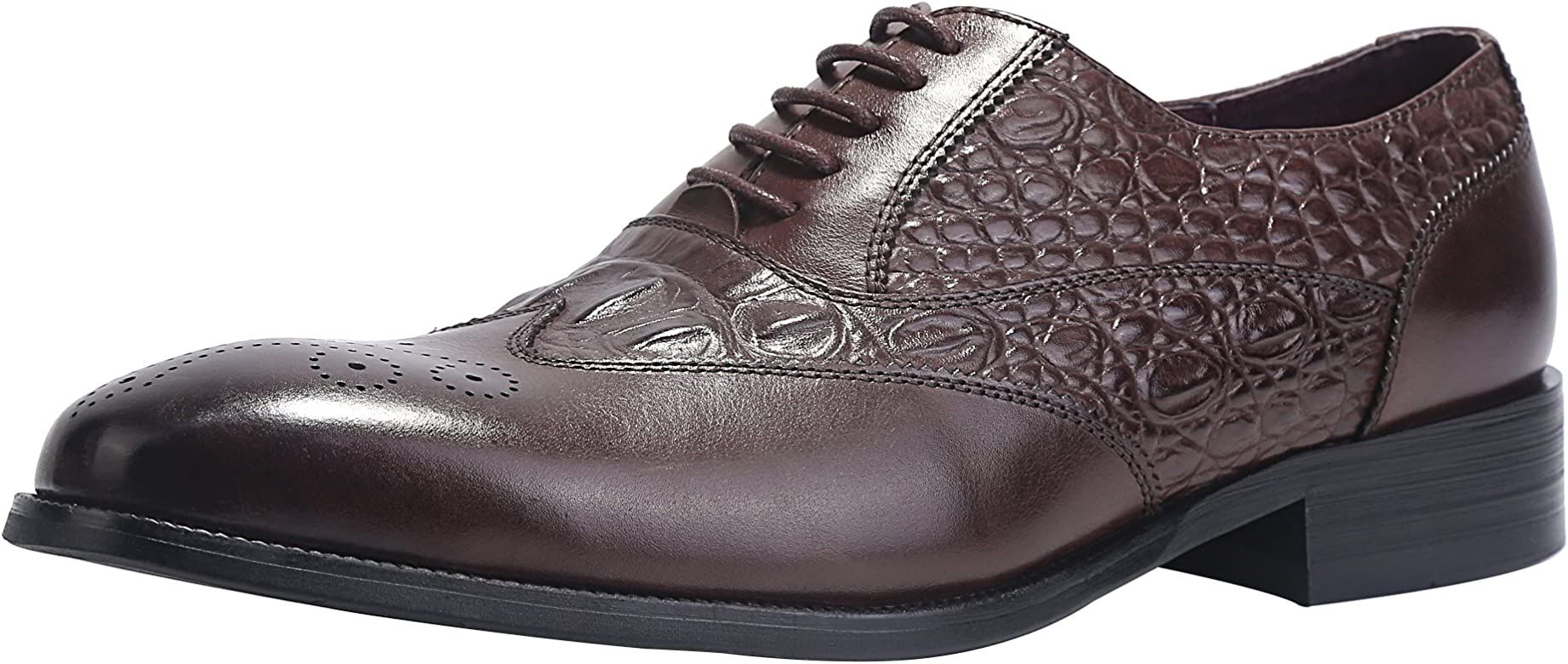 54eda0fbe ELANROMAN Mens Leather Oxford Dress Shoes Wingtip Brogue Handcrafted Men's  Genuine Leather Lace up Dress Leather