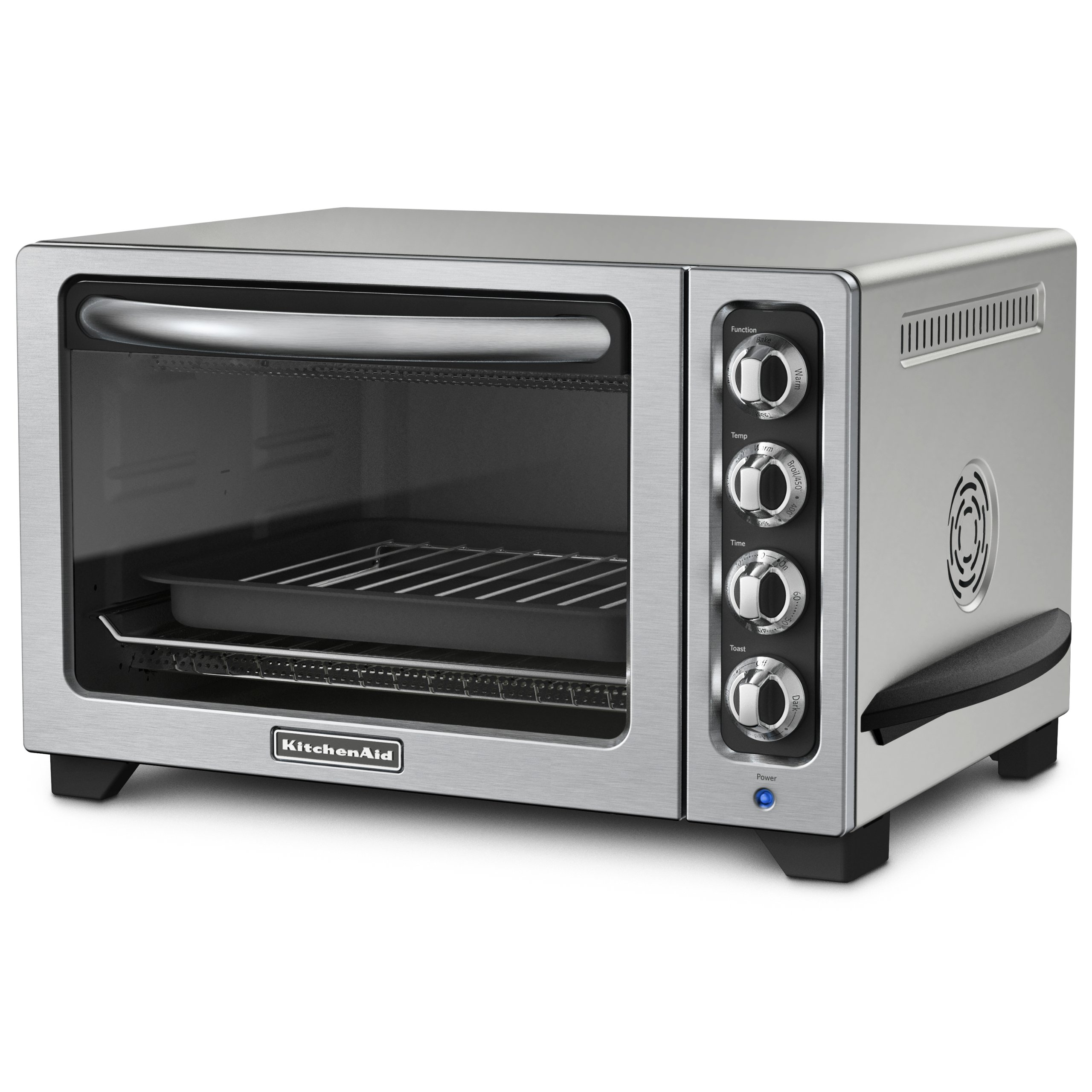 KitchenAid KCO223CU 12-Inch Convection Countertop Oven with Silver Handle, Contour Silver