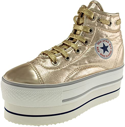 dd99b328ad5f Maxstar Women's CN9 020 Lace Up Double Platform PU High Top Sneakers Gold  5.5 B(