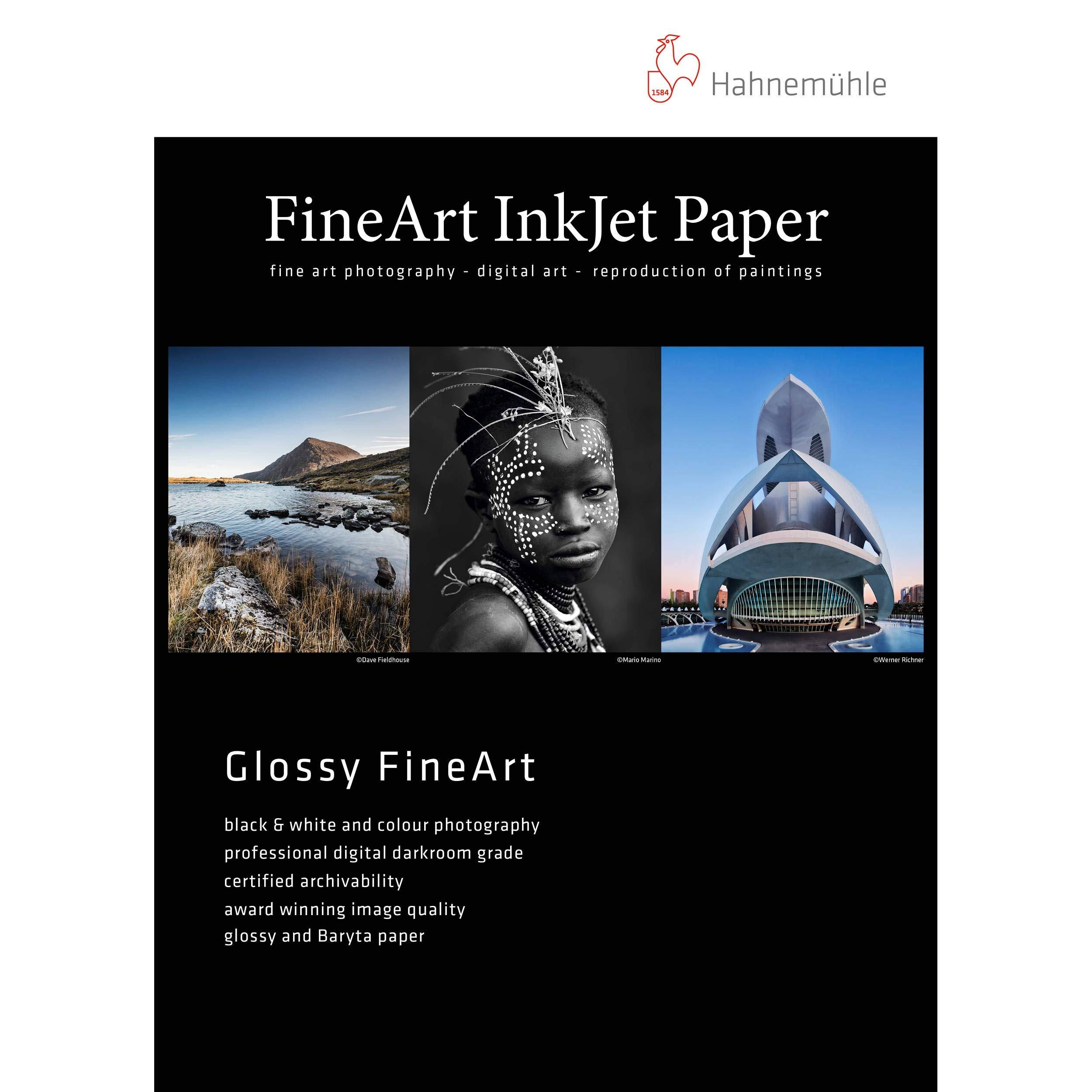 Hahnemuhle Fine Art Baryta 325, Ultra Smooth High Gloss, Bright White Inkjet Paper, 325gsm, 8.5x11'', 25 Sheets