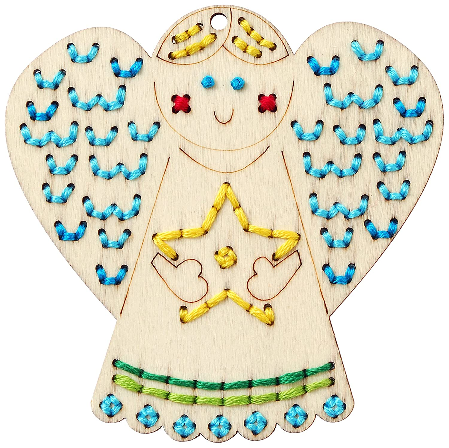 Wood stitch-able festive Christmas owl ornament to make easy cute craft project