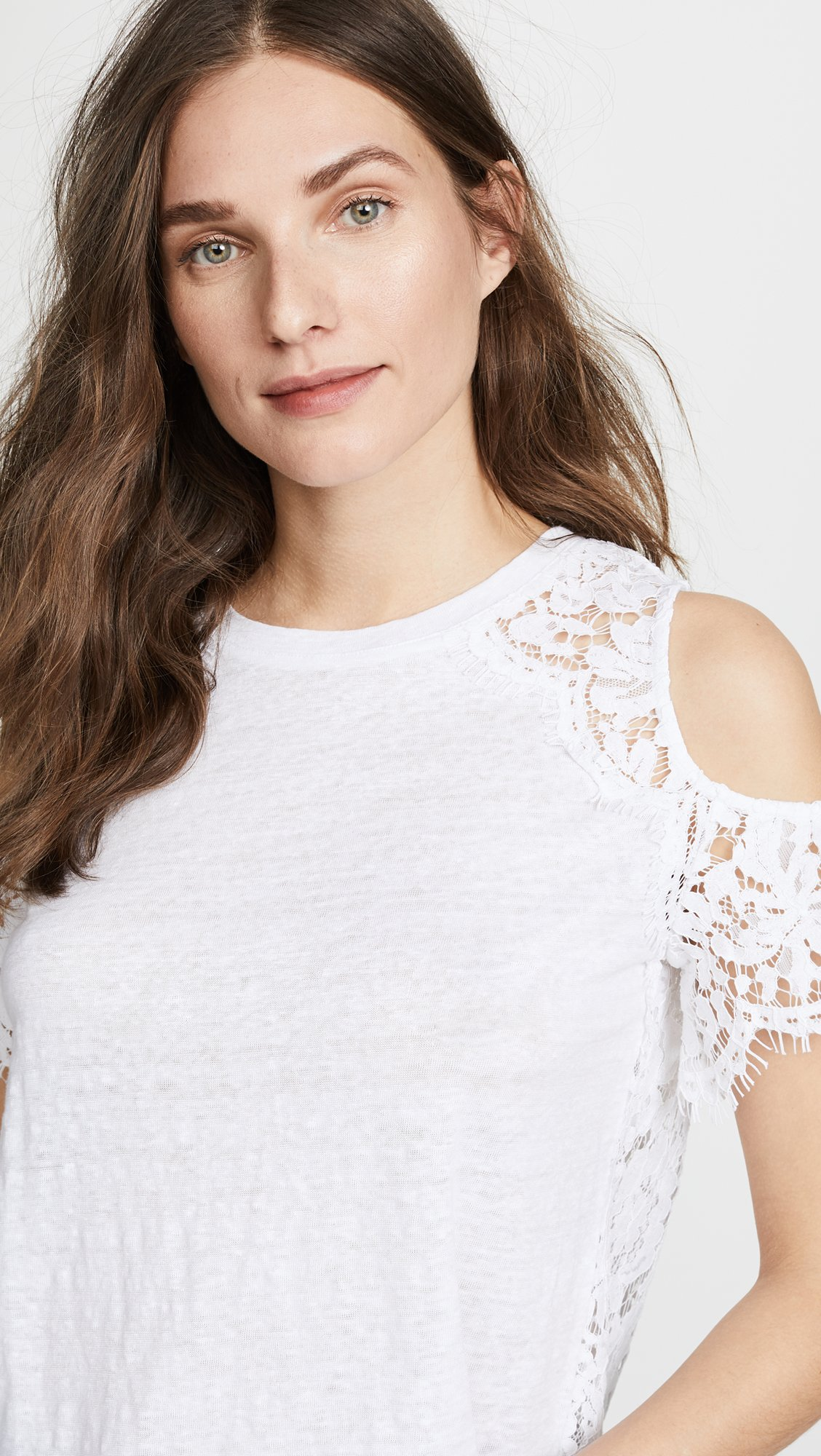 Generation Love Women's London Lace Cold Shoulder Tee, White, Small by Generation Love (Image #6)