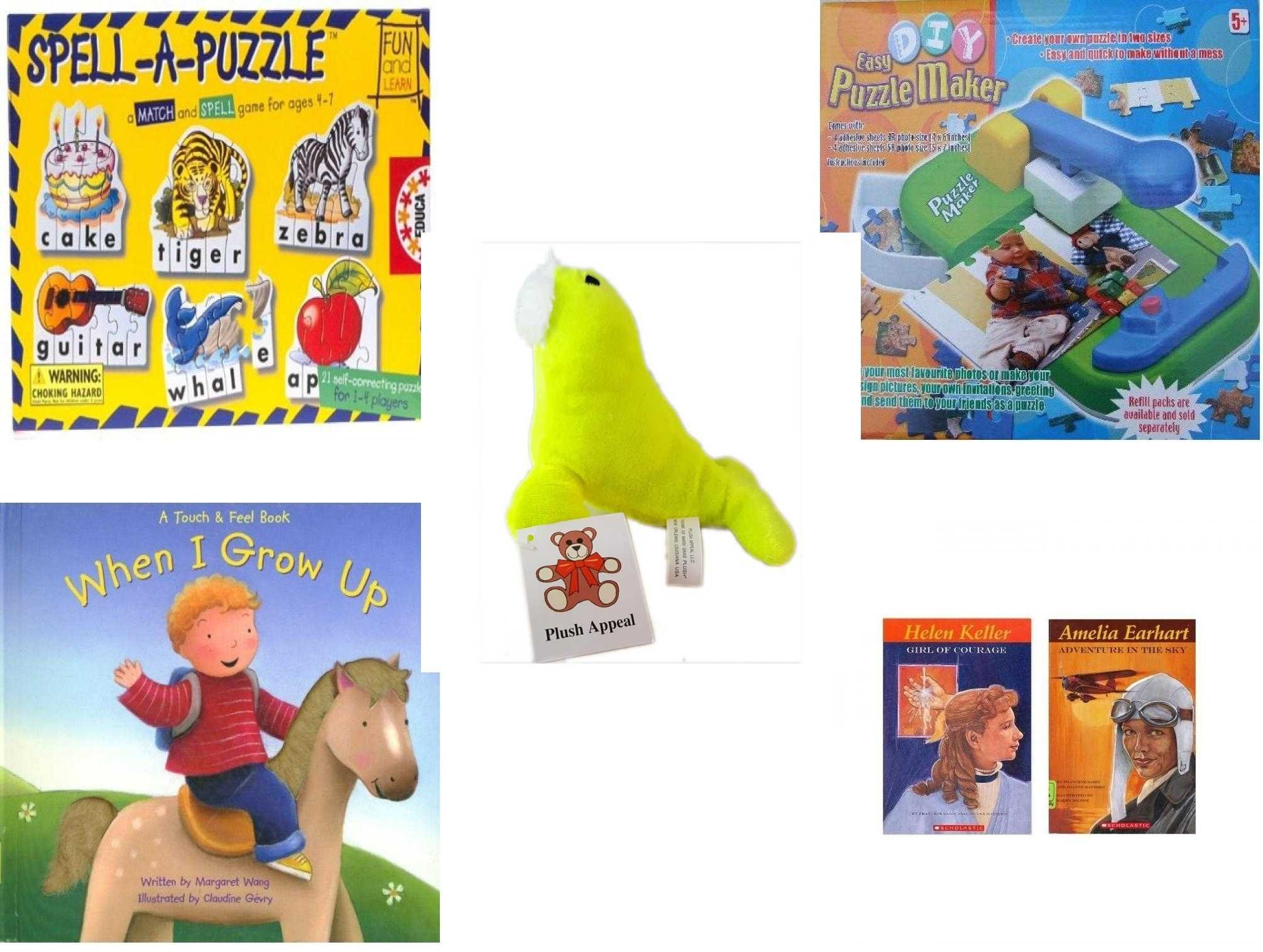 Children's Gift Bundle - Ages 3-5 [5 Piece] - Spell A Puzzle Game - DIY Easy Puzzle Maker Toy - Plush Appeal Neon Sea Lion Plush 4.5'' - When I Grow UpHardcover Book - Women's History Pack: Helen K