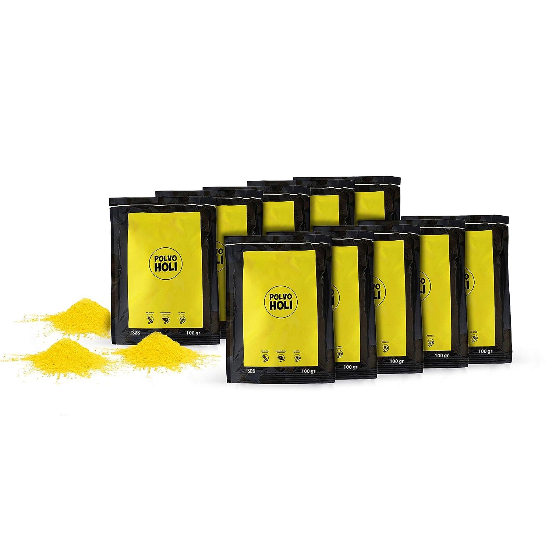 Pack de 10 bolsas de Polvo Holi de 100 gramos Amarillo