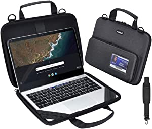 KEISKEI Chromebook 11-11.6 inch Laptop Work-in Carrying case,Notebook Cover, EVA Always on Laptop Sleeve with Pouch and Shoulder Bag for Acer Samsung Compatible ASUS HP Dell 2020 MacBook Air (Black)