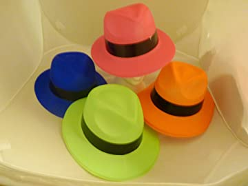 82b7aa3b78d Novelties Direct Neon Gangster Hat Assorted Colours  Amazon.co.uk ...
