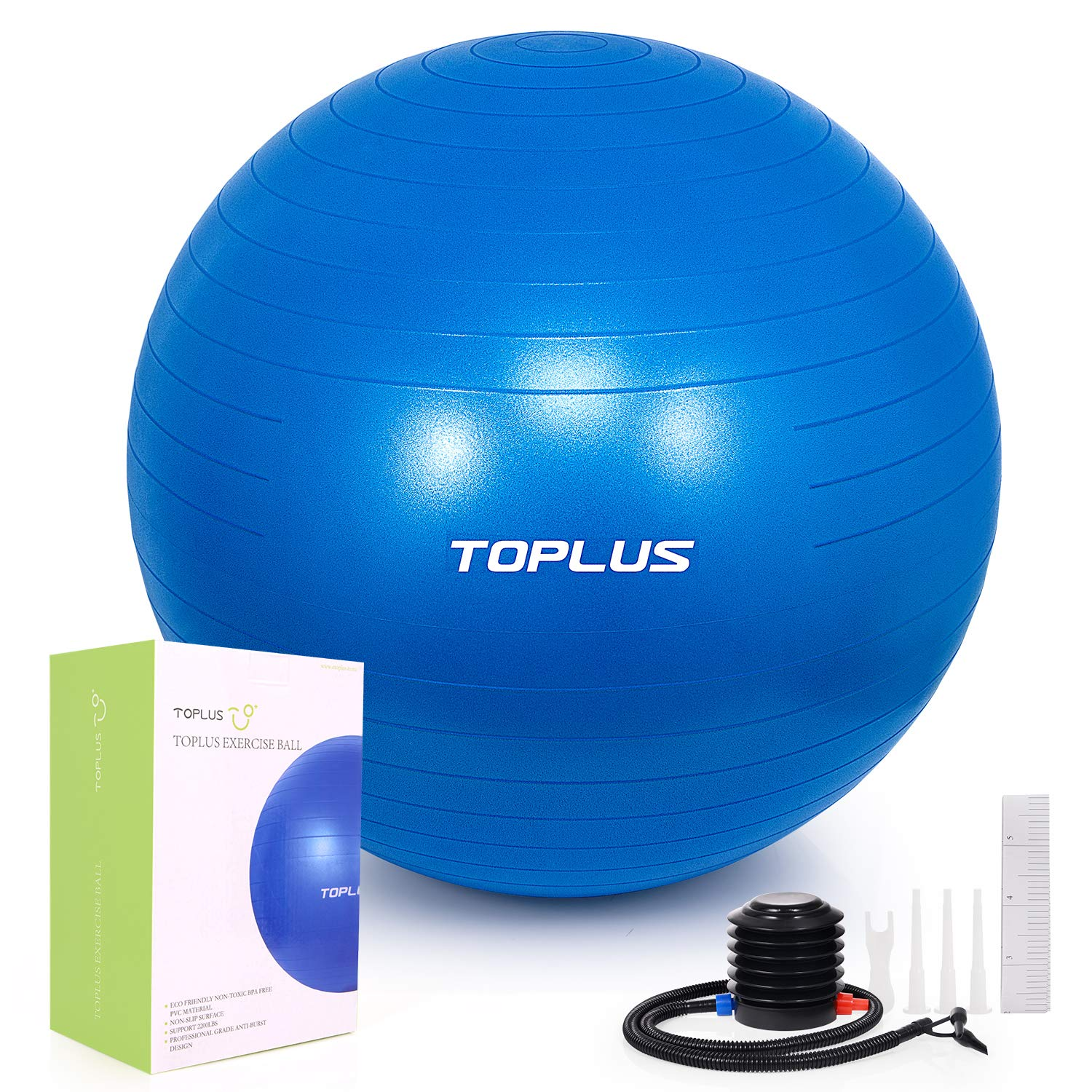 TOPLUS Exercise Ball (Multiple Sizes) Extra Thick Yoga Ball Chair for Fitness, Stability, Balance, Pilates, Birthing - Anti Burst Supports 2200lbs - Includes Quick Pump & Professional Guide