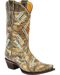 65bd1030c1c Amazon.com | CORRAL Girls' Butterfly Inlay Boot Square Toe - E1296 ...