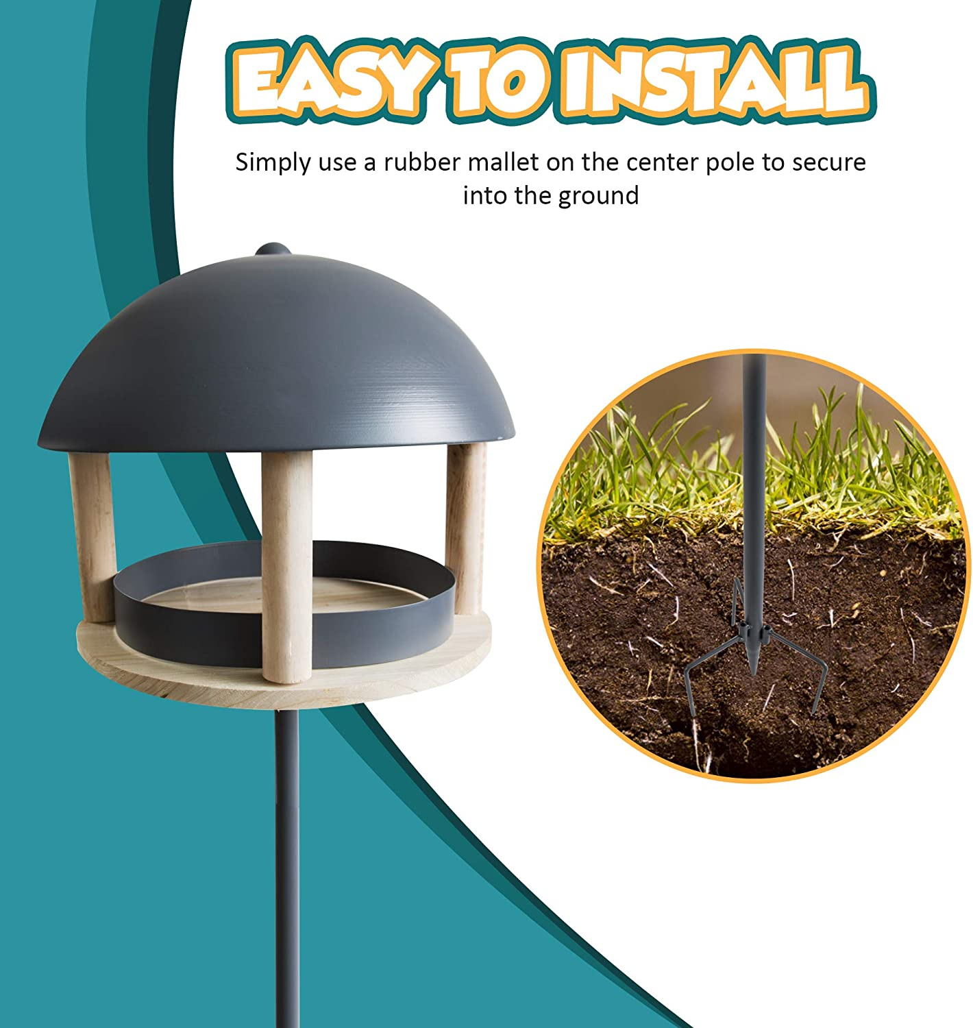 Domed Roof Seed Tray Petlicity Nordic Style Bird House Feeder with Circular Shelf Ground Spikes and Sturdy Metal and Wood Construction