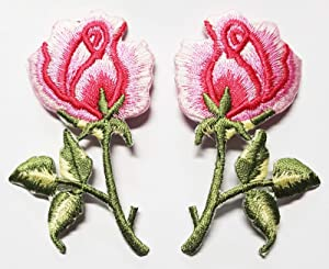 PP Patch Pink Rose Pair Flowers Gothic Boho Rock & roll Wicca Applique Iron-on Patches T-Shirt Jacket Jeans Shoes Bags Clothings Hat Costume