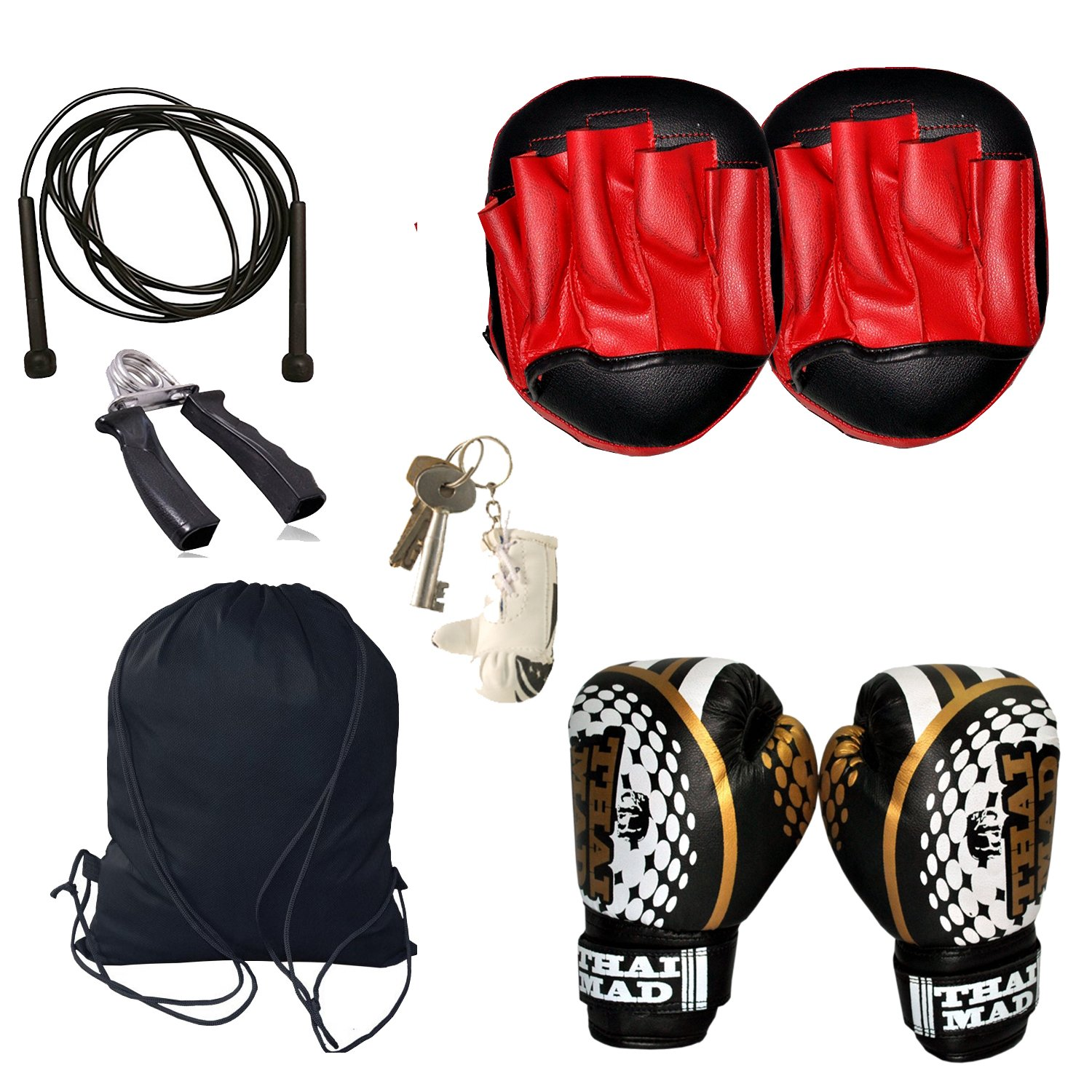 Kids Boxing Set,Focus Pad(Pair),Bag Mitts,Hang Gripper With free Skipping Rope Gym Equipments Onex