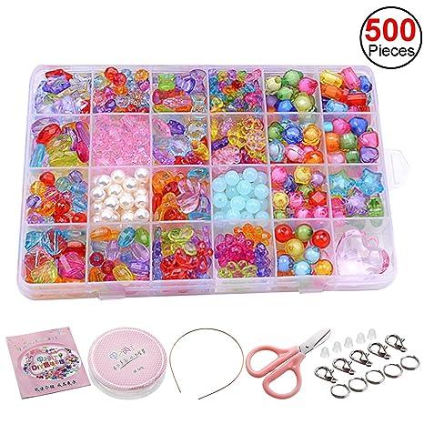 01b654724830 Abalorios Plástico Sasairy Abalorios Cuentas DIY Kit hacer Pulsera y Collar  Juguetes Educativos para Niños (
