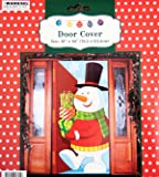 Snowman with Gifts Door Cover Holiday Decoration Plastic 30x60 Inches