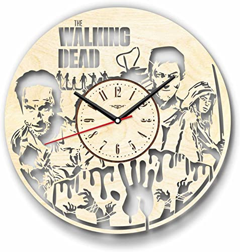 7Arts Wooden Clock The Walking Dead Decorative Wall Clock Made from Eco Wood with Silent Quartz Movement and Autonomous Power Source – Can be Painted, Great Gift Idea