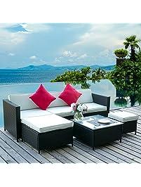 Leisure Zone 6PCS Outdoor PE Rattan Wicker Patio Sofa Sectional Furniture  Set Conversation Set (White