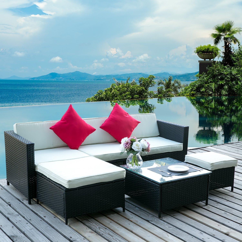 Leisure Zone 6PCS Outdoor PE Rattan Wicker Patio Sofa Sectional Furniture Set Conversation Set (White)