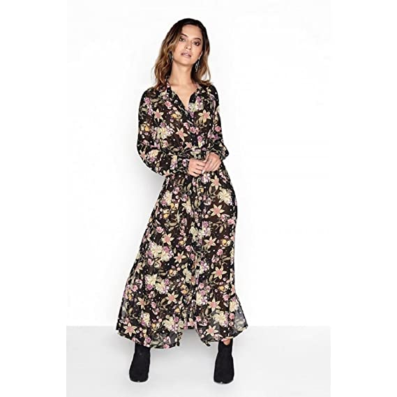 cfa9c832b78 Girls On Film Womens Ladies Self Tie Shirt Maxi Dress (8) (Black)   Amazon.co.uk  Clothing