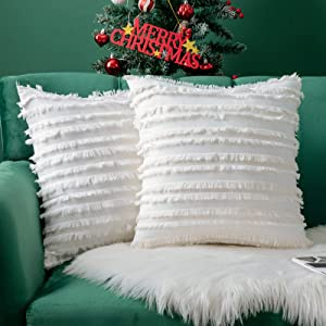 MIULEE Set of 2 Decorative Boho Throw Pillow Covers Cotton Linen Striped Jacquard Pattern Cushion Covers for Christmas Decor Sofa Couch Living Room Bedroom 16x16 Inch Ivory White
