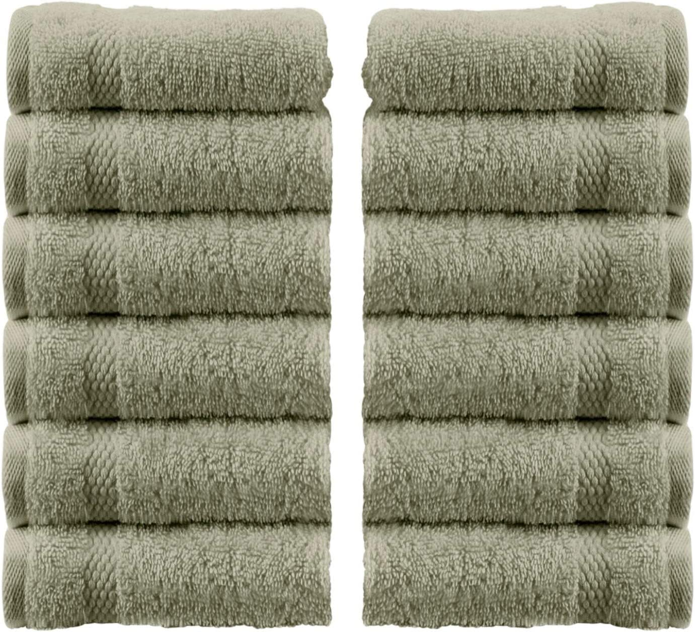 White Classic Luxury Cotton Washcloths - Large Hotel Spa Bathroom Face Towel | 12 Pack | Green