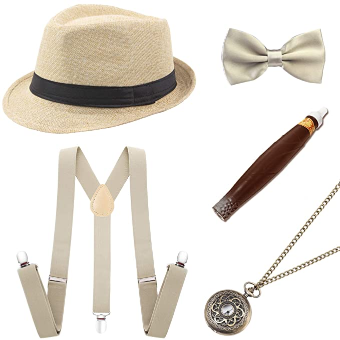 97de395d Amazon.com: BABEYOND 1920s Mens Gatsby Costume Accessories Set 30s Panama  Hat Elastic Y-Back Suspender Pre Tied Bow Tie Pocket Watch and Plastic  Cigar ...