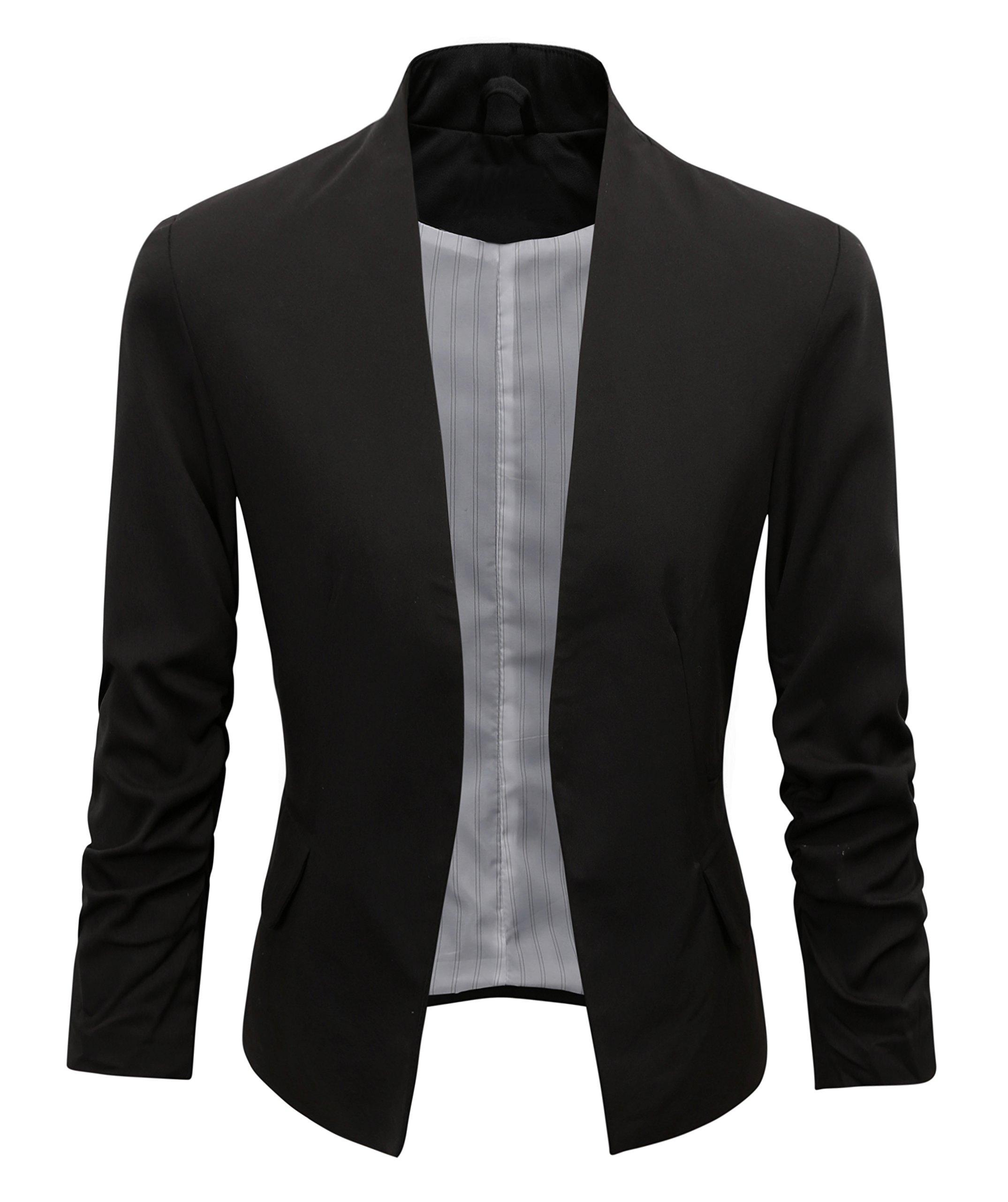 Women's Folding Sleeve Office Blazer (M, 00000Black)